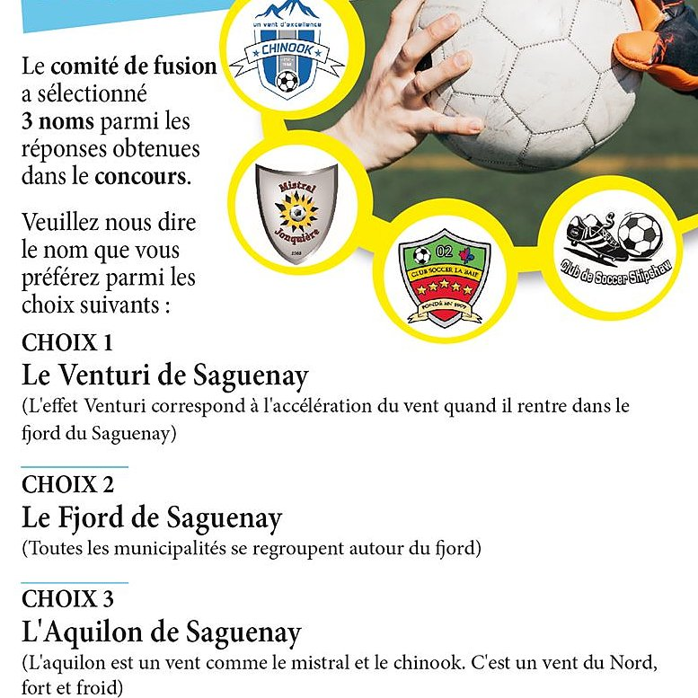 Choix du nom du futur club de Saguenay